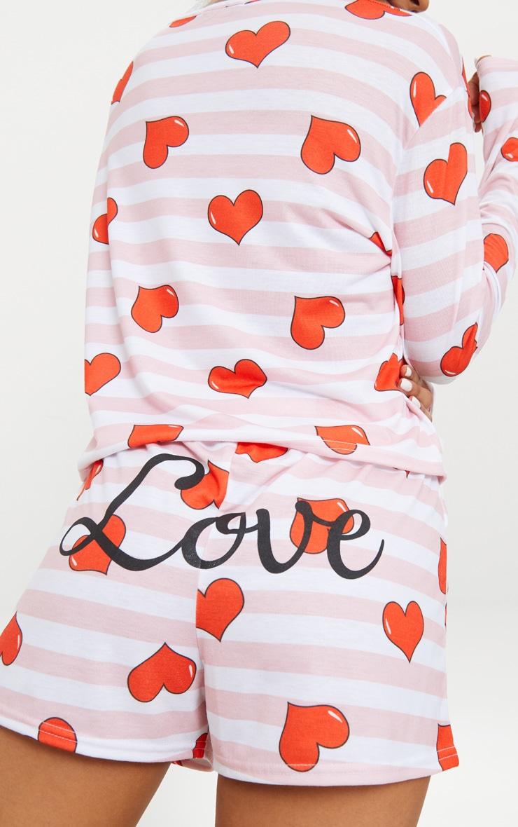Pink Stripe Heart Print LOVE Slogan PJ Set 7