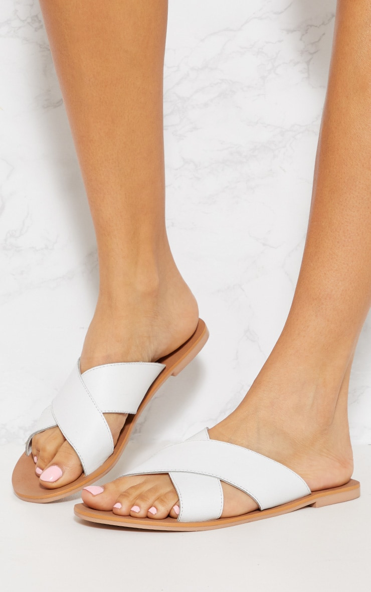 White Leather Cross Strap Sandal 2
