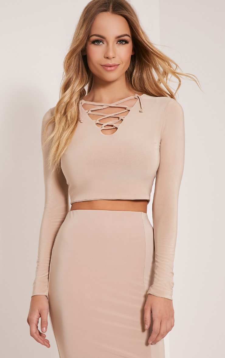 Ameria Stone Lace Up Front Crop Top 1