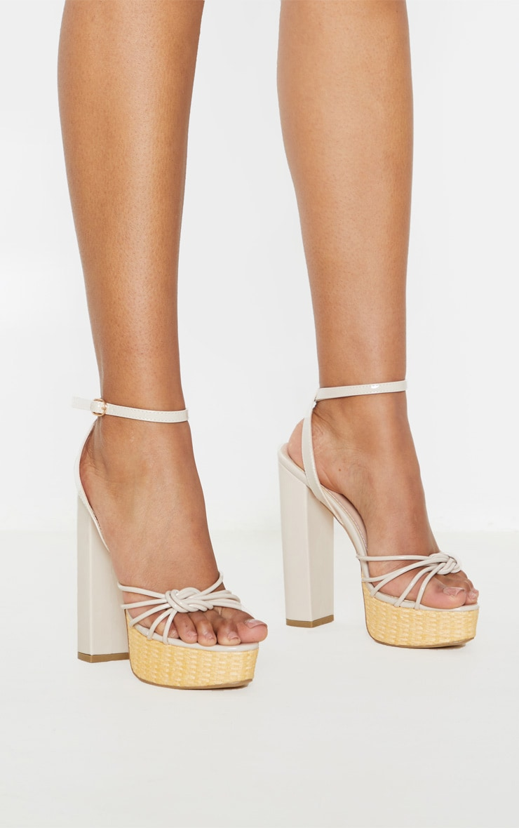 Sandales à plateforme nude en raphia 2