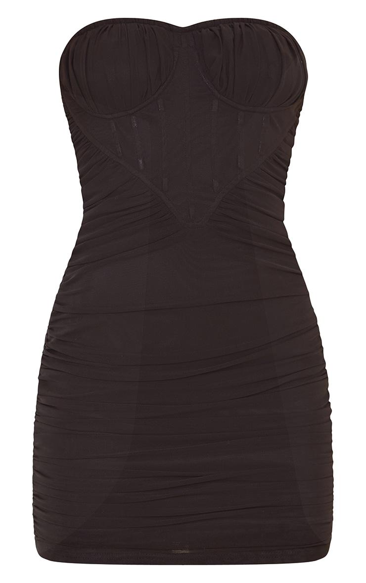 Black Chiffon Corset Detail Ruched Bandeau Bodycon Dress 5