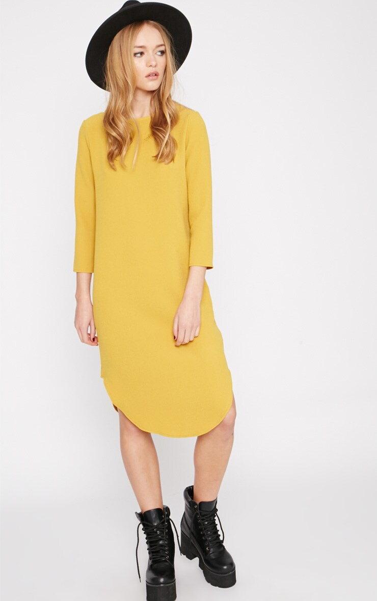 Camilla Mustard Crepe Shift Dress 3