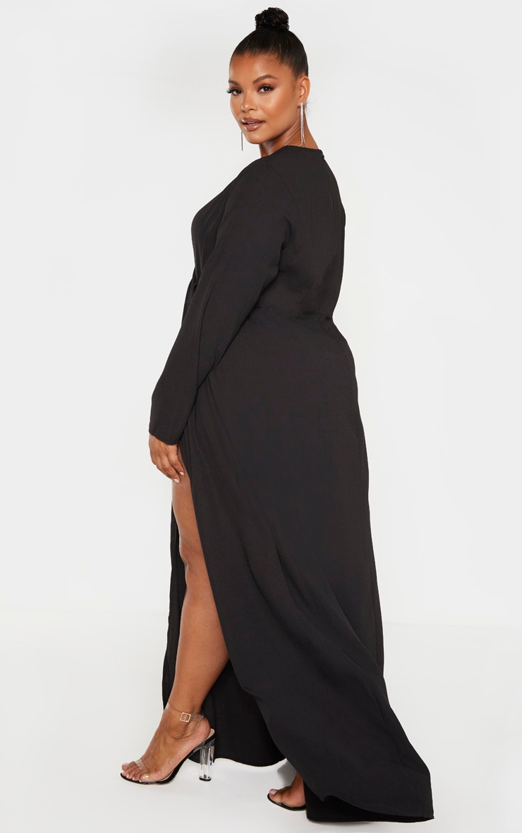 Plus Black Twist Front Maxi Dress 2