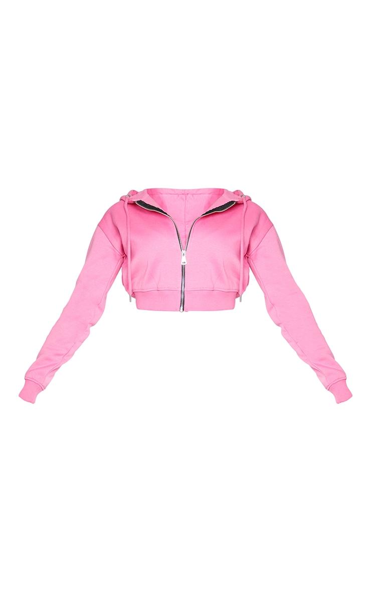 Hot Pink Crop Zip Hoodie 5