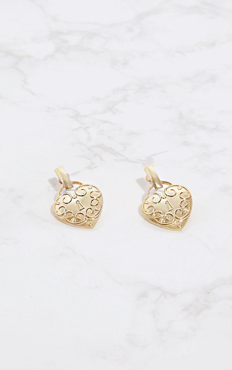 Gold Heart Locket Earrings 3