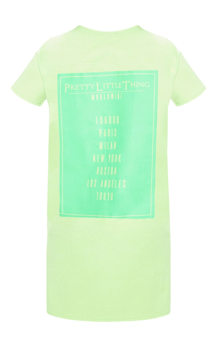 PRETTYLITTLETHING Petite Neon Green Worldwide T-Shirt Dress 4