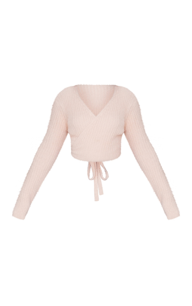 Nude Fluffy Knitted Tie Waist Cardigan 5