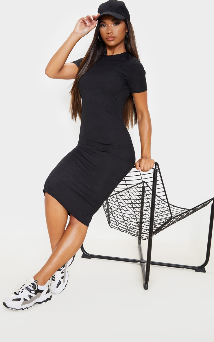 Black Ribbed Crew Neck Midi Dress 4