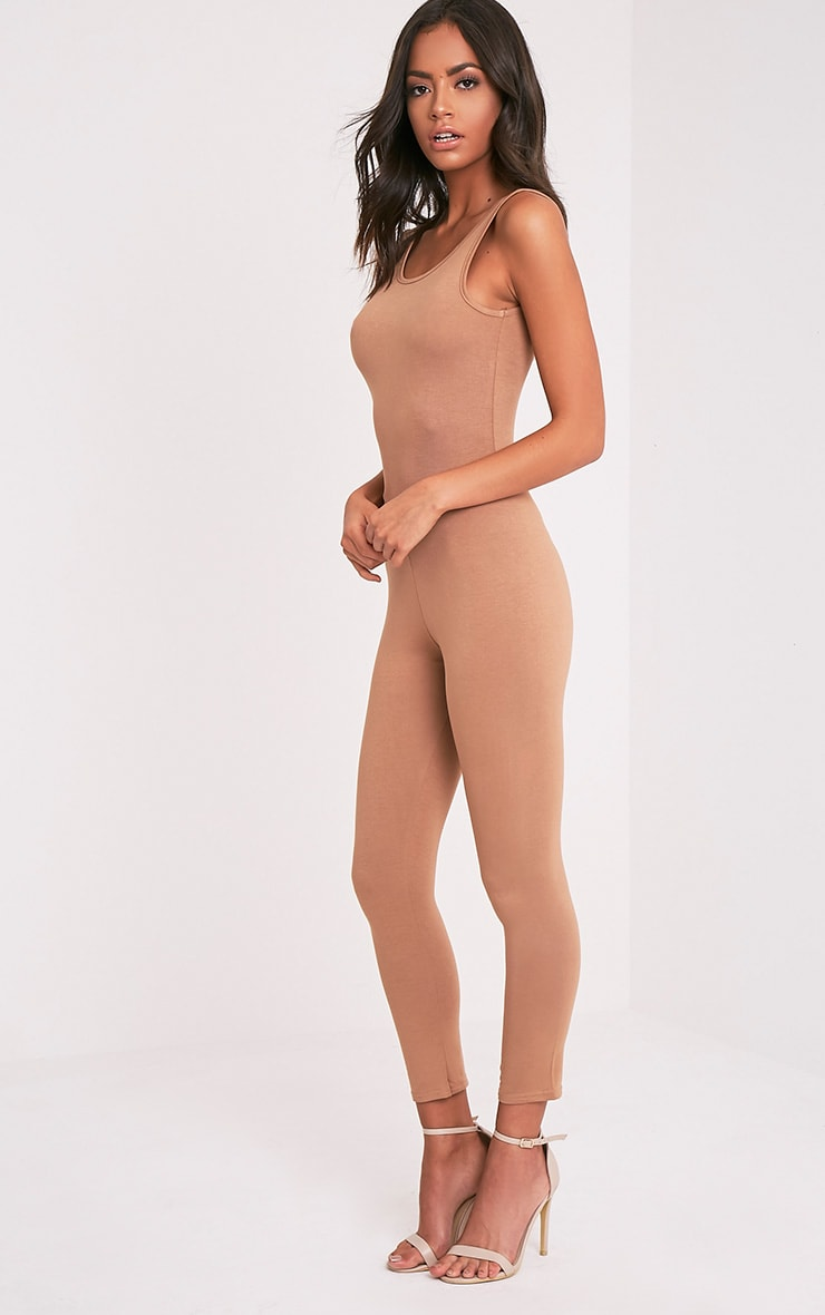Katie Camel Scoop Back Fitted Cropped Leg Jumpsuit 4
