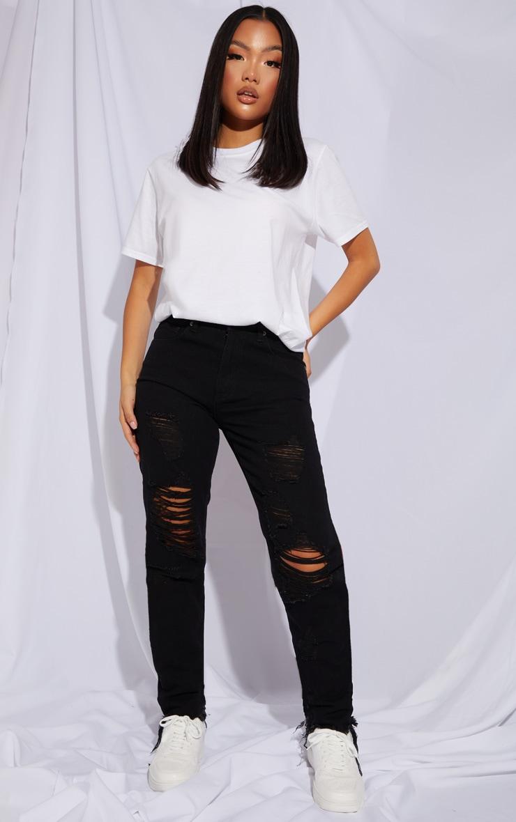 Petite Black Distressed Raw Hem Jeans 1
