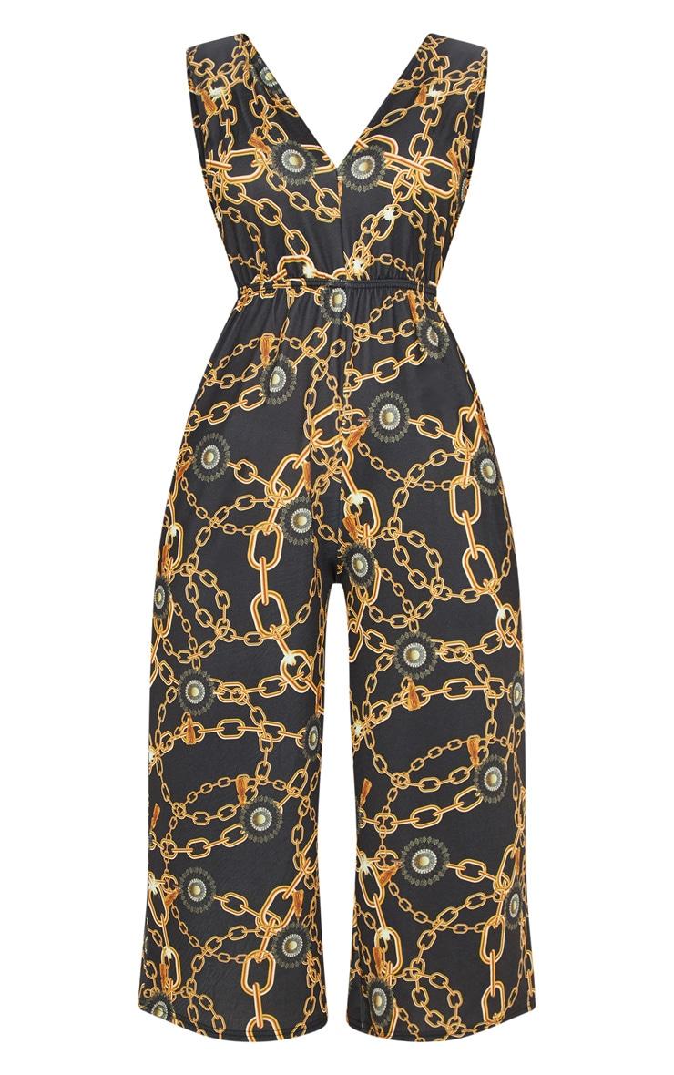 Black Chain Print Culotte Jumpsuit 3