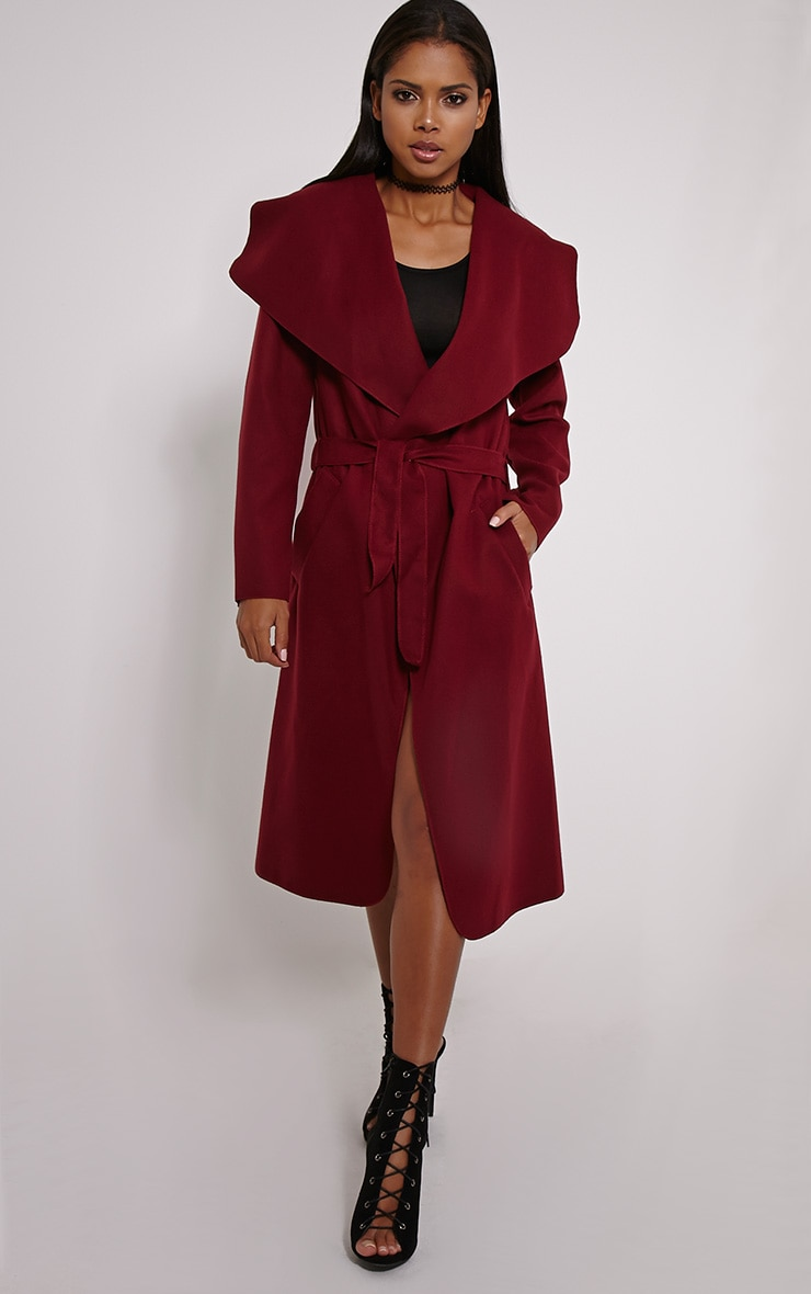 Veronica Oxblood Waterfall Coat 1