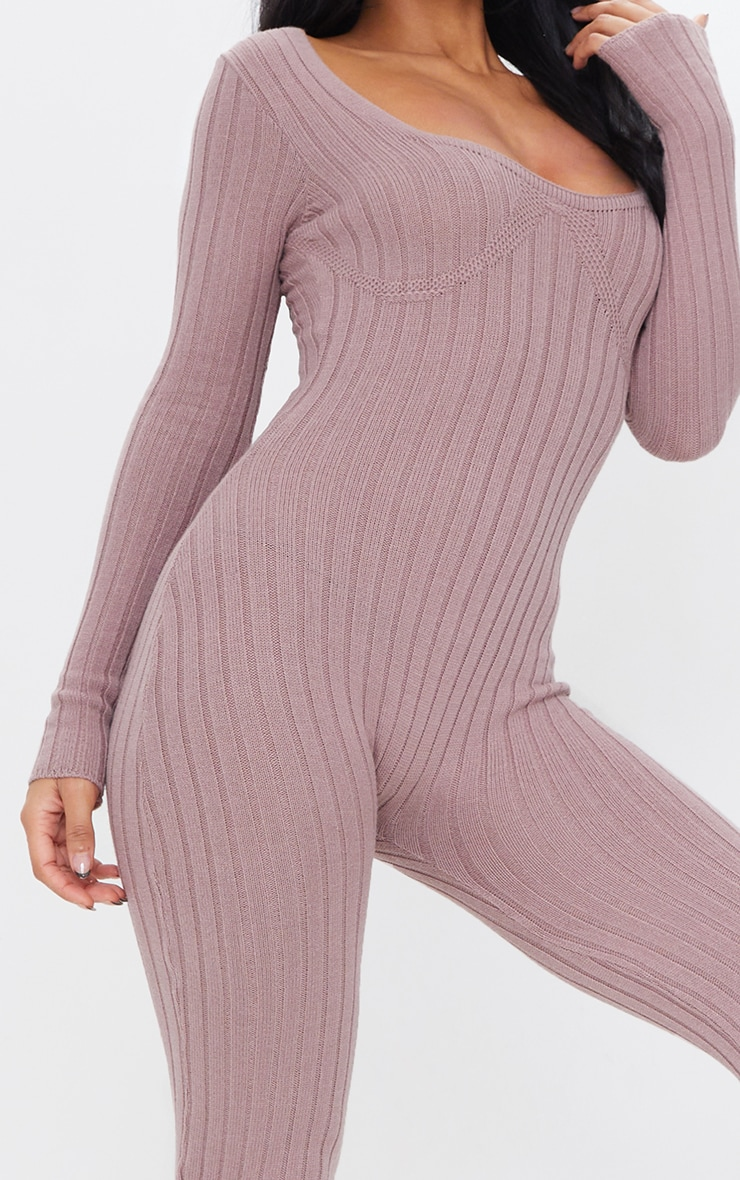 Mocha Bust Detail Ribbed Knitted Fitted Jumpsuit 4