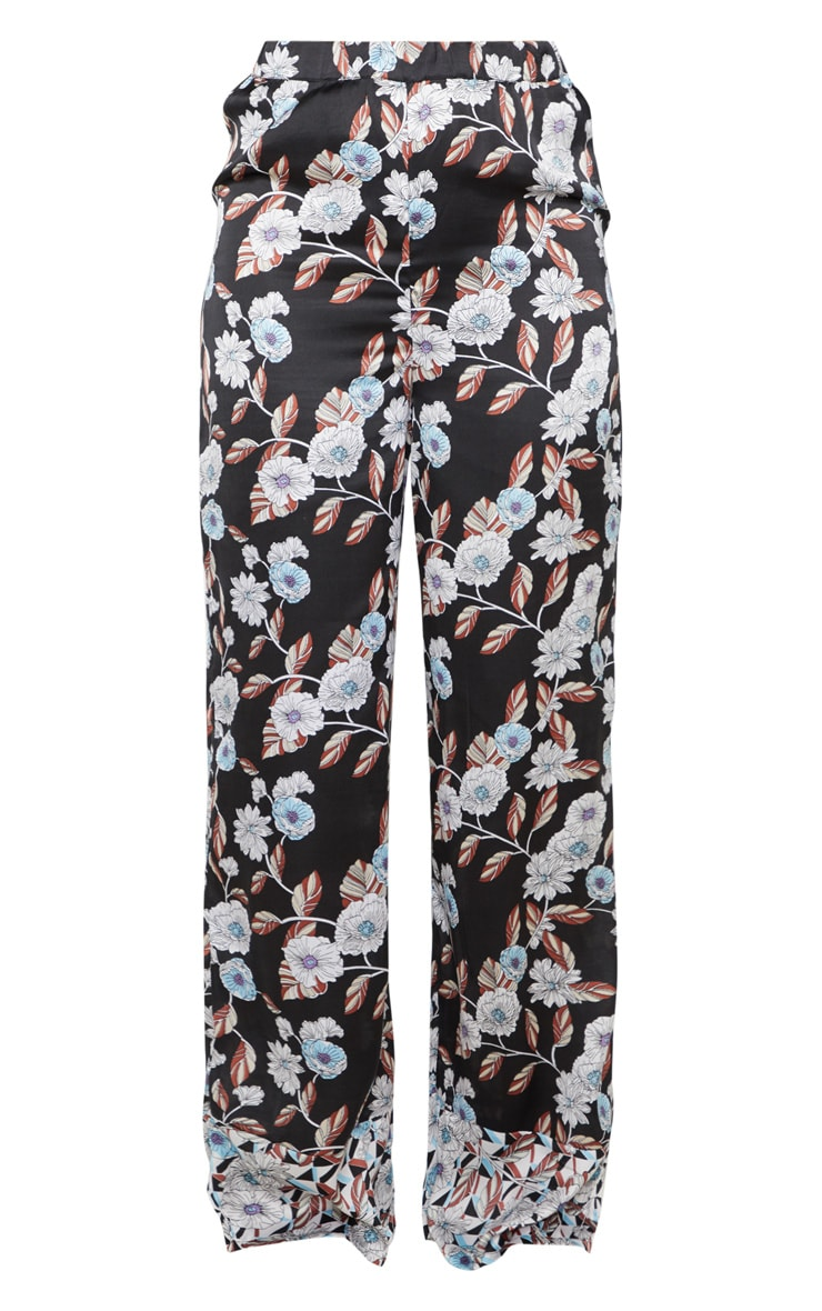 Black Geo Floral Satin Long Pyjama Bottom 3