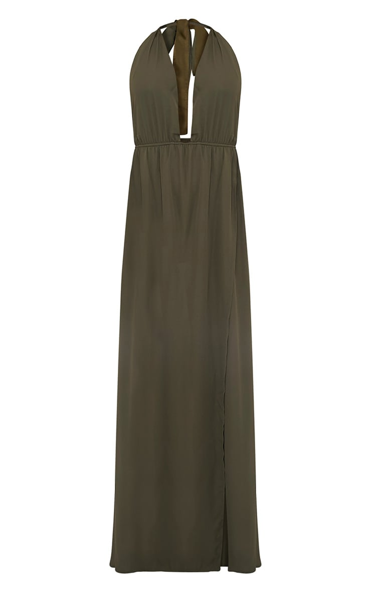 Alina Khaki Plunge Maxi Dress 3