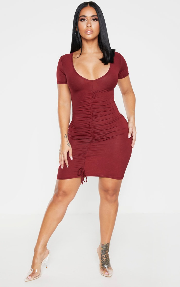Shape Burgundy Jersey Ruched Cap Sleeve Dress  3