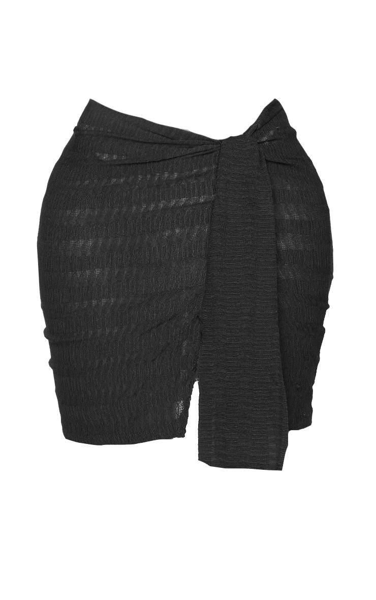 Shape Black Textured Knot Detail Bodycon Skirt 5