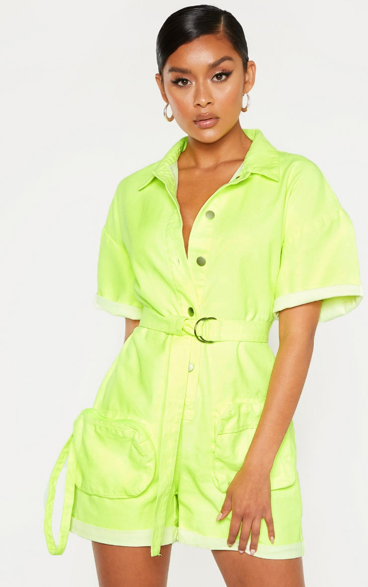 Neon Lime Playsuit With Pencil Pockets 1