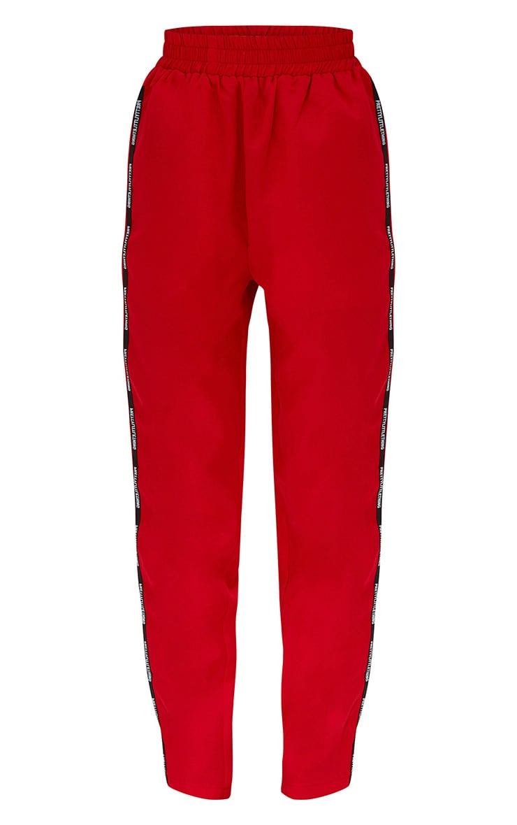 PRETTYLITTLETHING Red Stripe Track Pants 3
