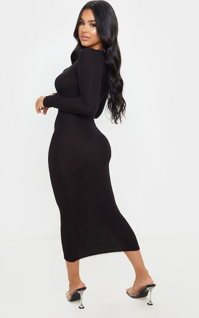 Petite Black Soft Rib Button Front Long Sleeve Midaxi Dress