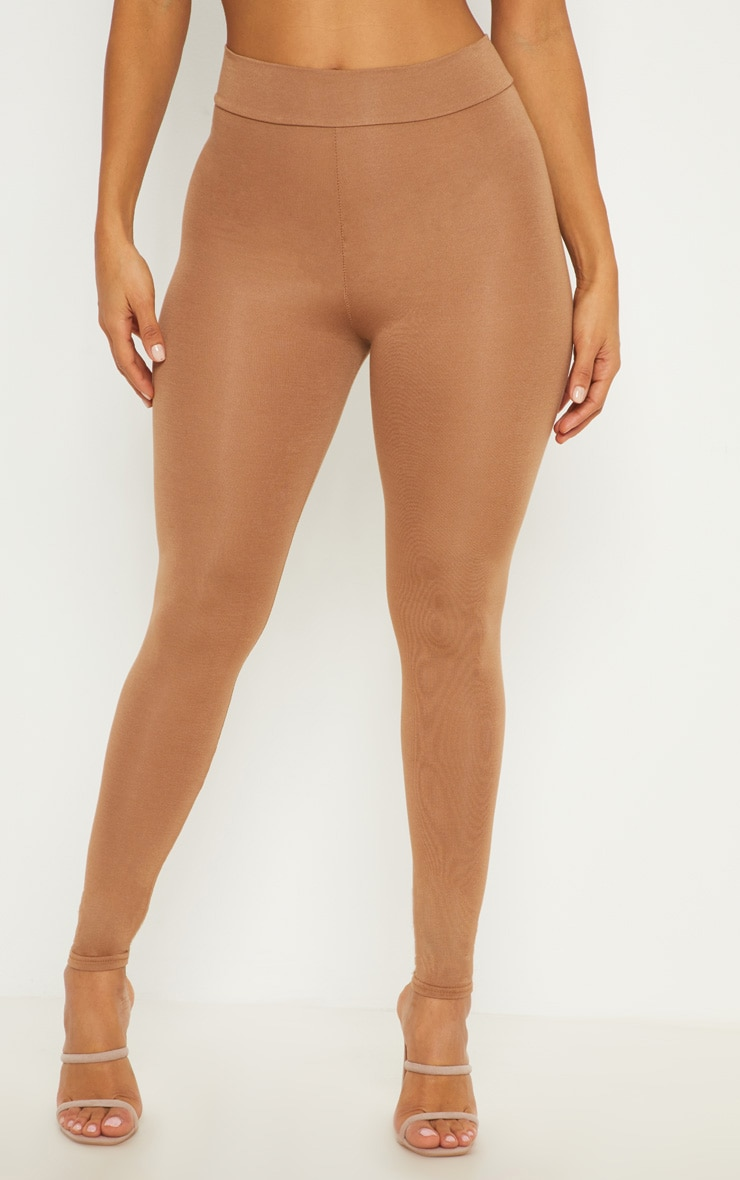 Basic Camel High Waisted Jersey Leggings 2