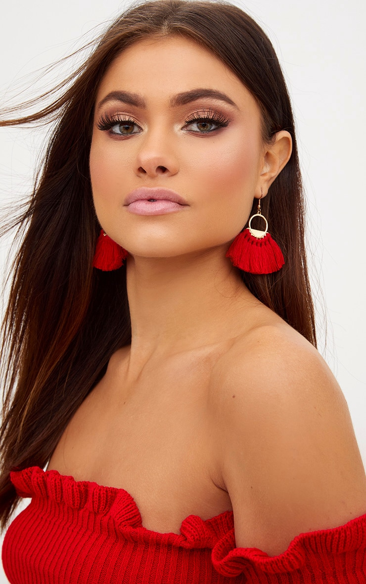 Red Short Tassel Earrings 1
