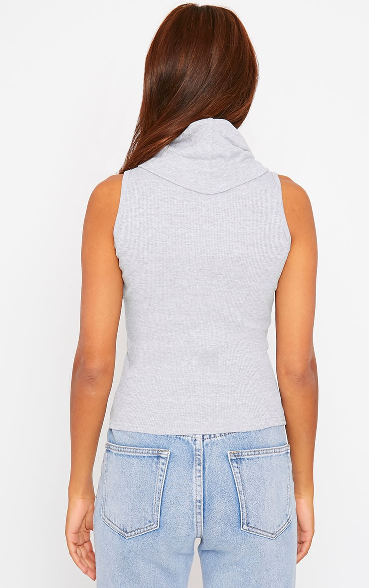 Melina Grey Ribbed Turtle Neck Top 2