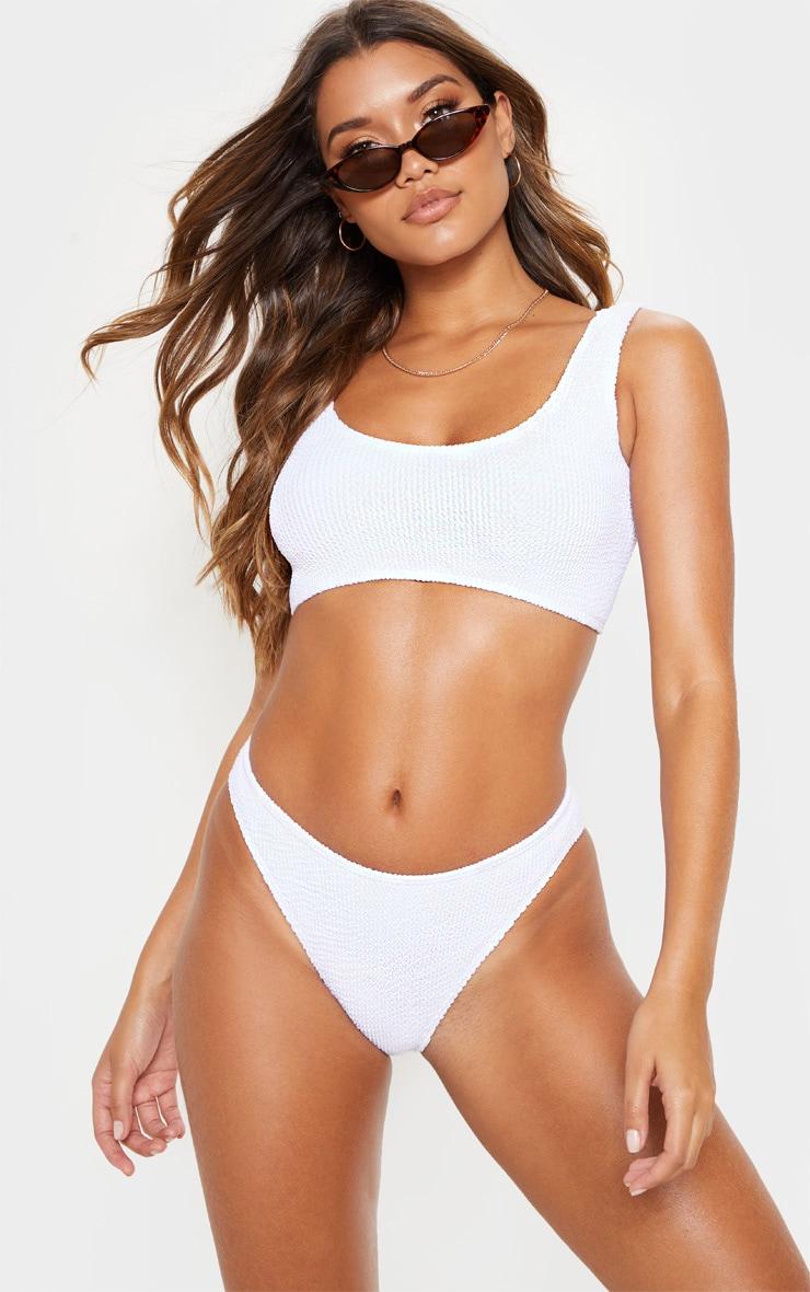 White Crinkle Deep Scoop Bikini Top 1