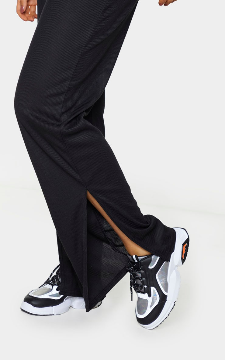 Tall Black Ribbed Split Hem Flared Pants 4