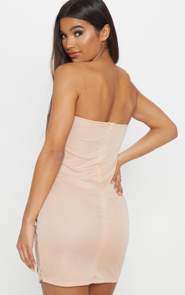 Nude Bandeau Sequin Pearl Embellished Bodycon Dress 2