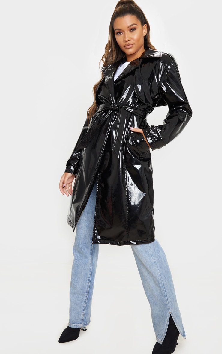 Black Belted Patent Trench Coat 3