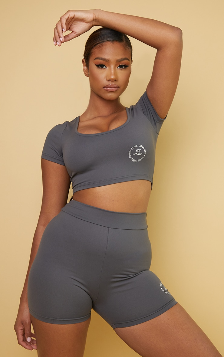 PRETTYLITTLETHING Charcoal Sport Cool Down Crop Tee 1