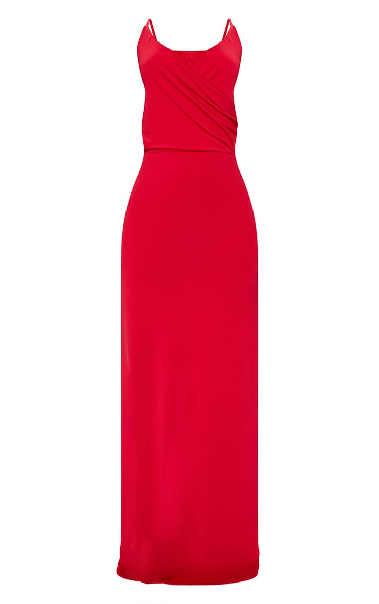 Red Strappy Plunge Slinky Maxi Dress 3