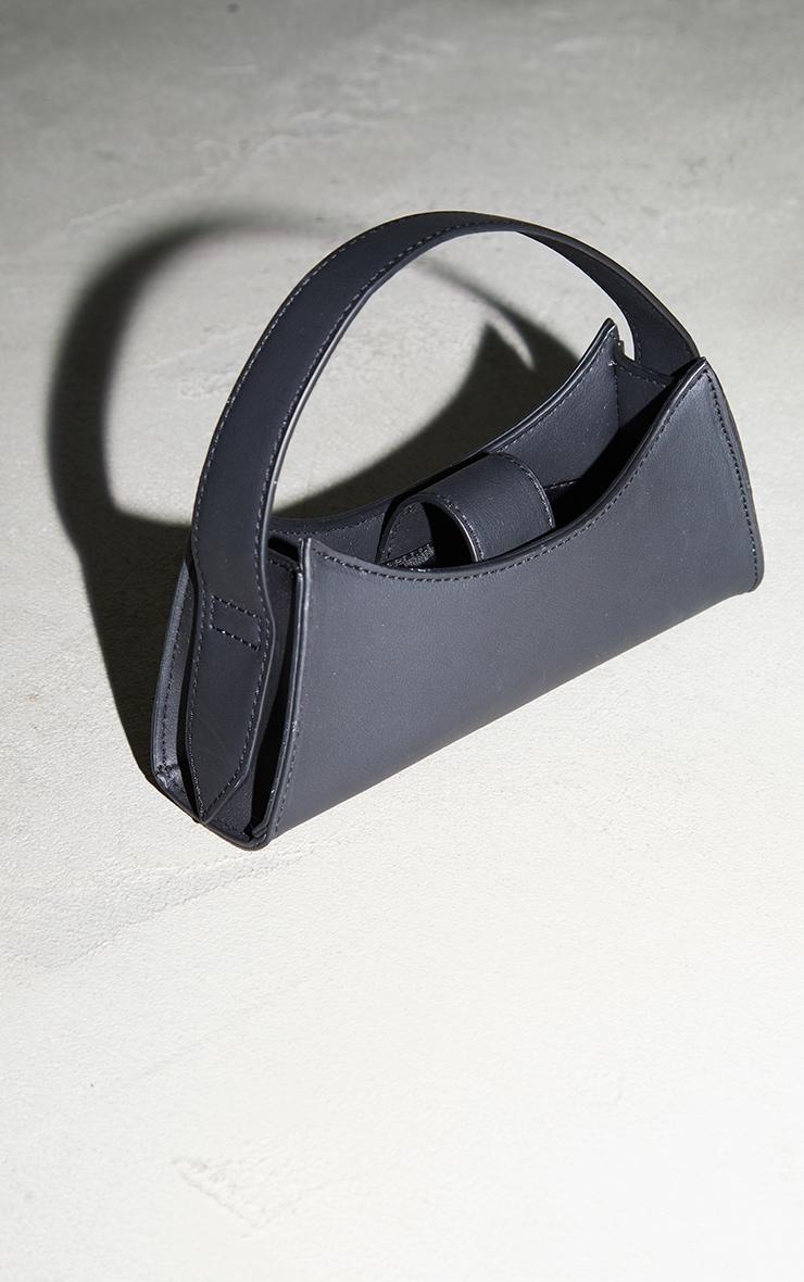 Black PU Curved Mini Bag 2