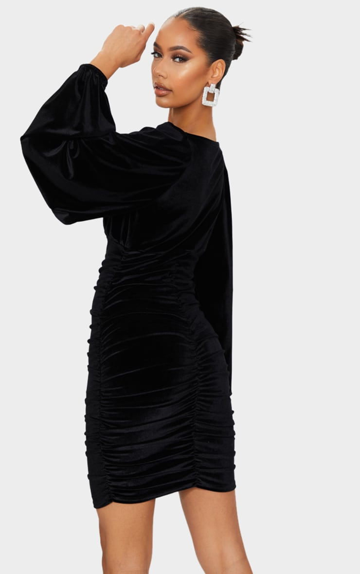 Black Velvet Ruched Balloon Sleeve Plunge Bodycon Dress 2