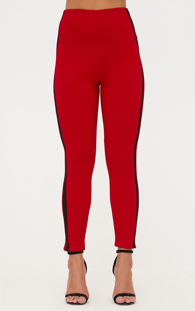 Red High Waisted Track Trousers 2