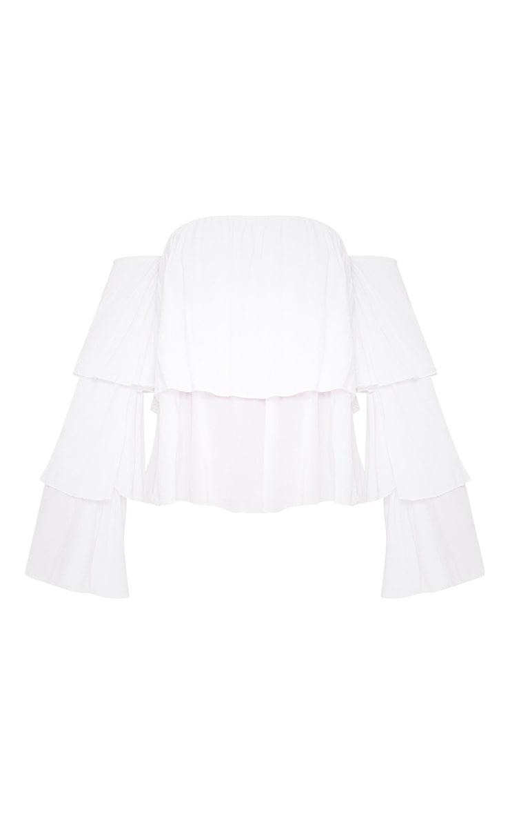 White Bardot Frill Sleeve Soft Shirt 3
