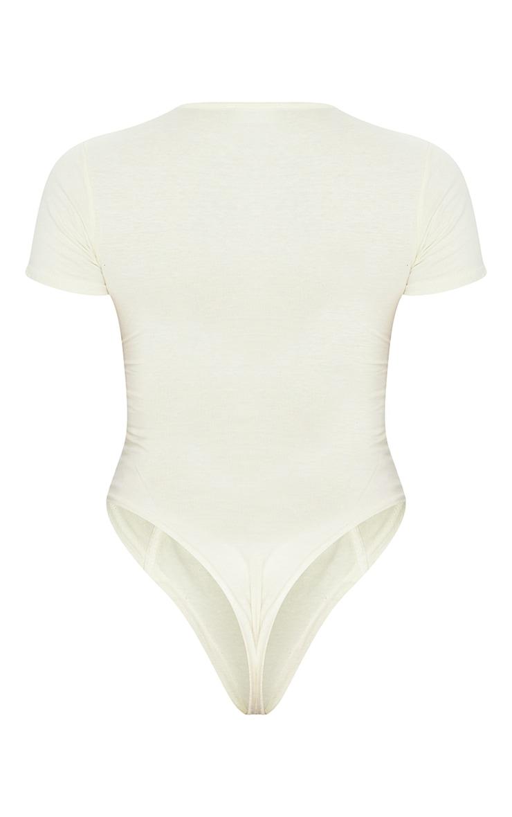 Shape Cream Cotton Binding Detail Short Sleeve Bodysuit 5