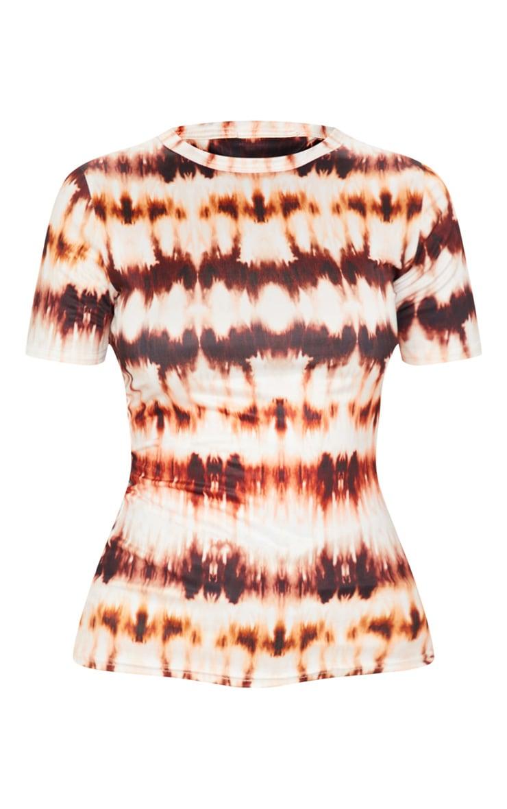 Brown Tie Dye Printed Slinky Fitted Tshirt 3