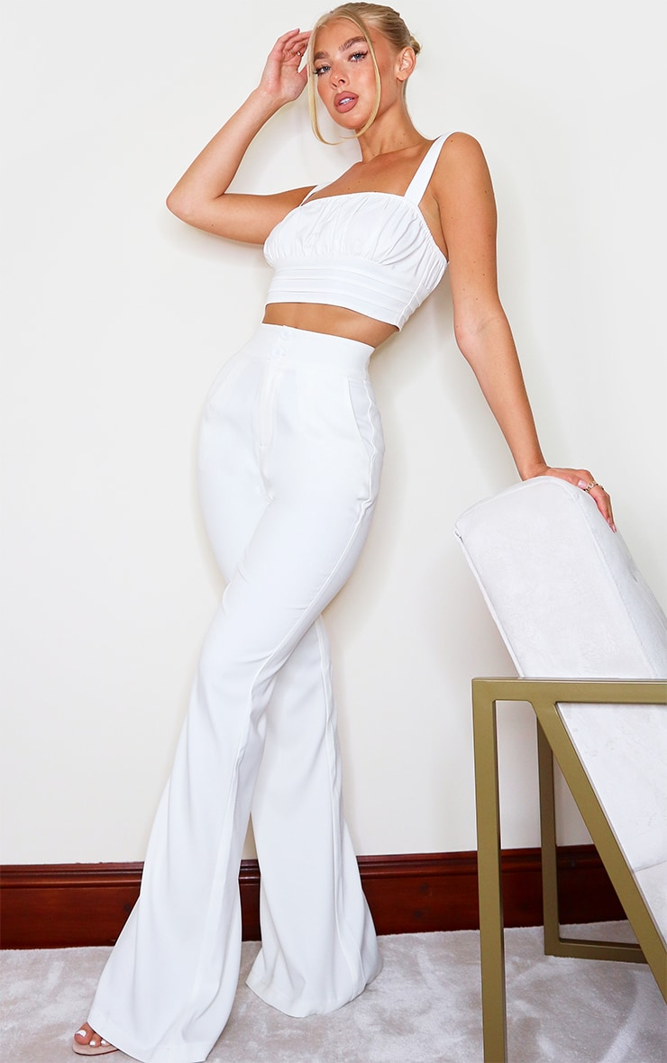 White High Waisted Double Button Waist Flare 1