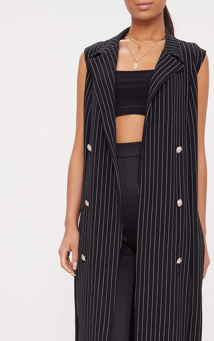 Pinstripe Sleeveless Military Button Duster Jacket 5