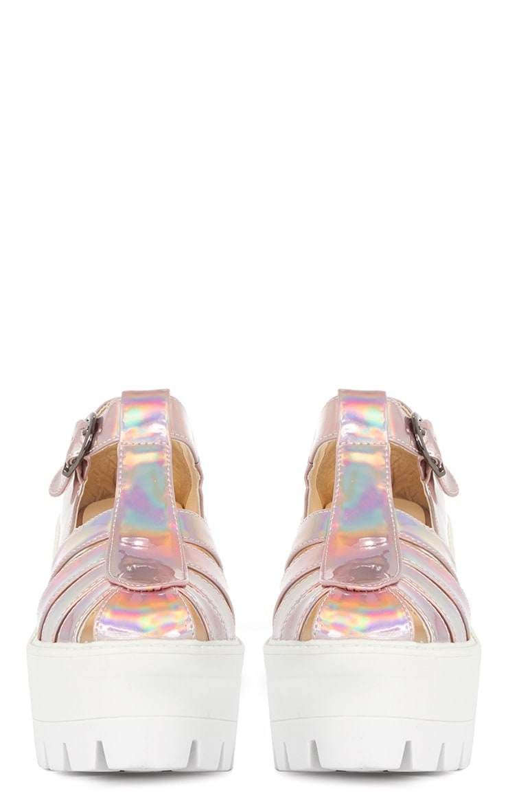 Jamiya Pink Holographic Cut Out Heeled Sandals 3