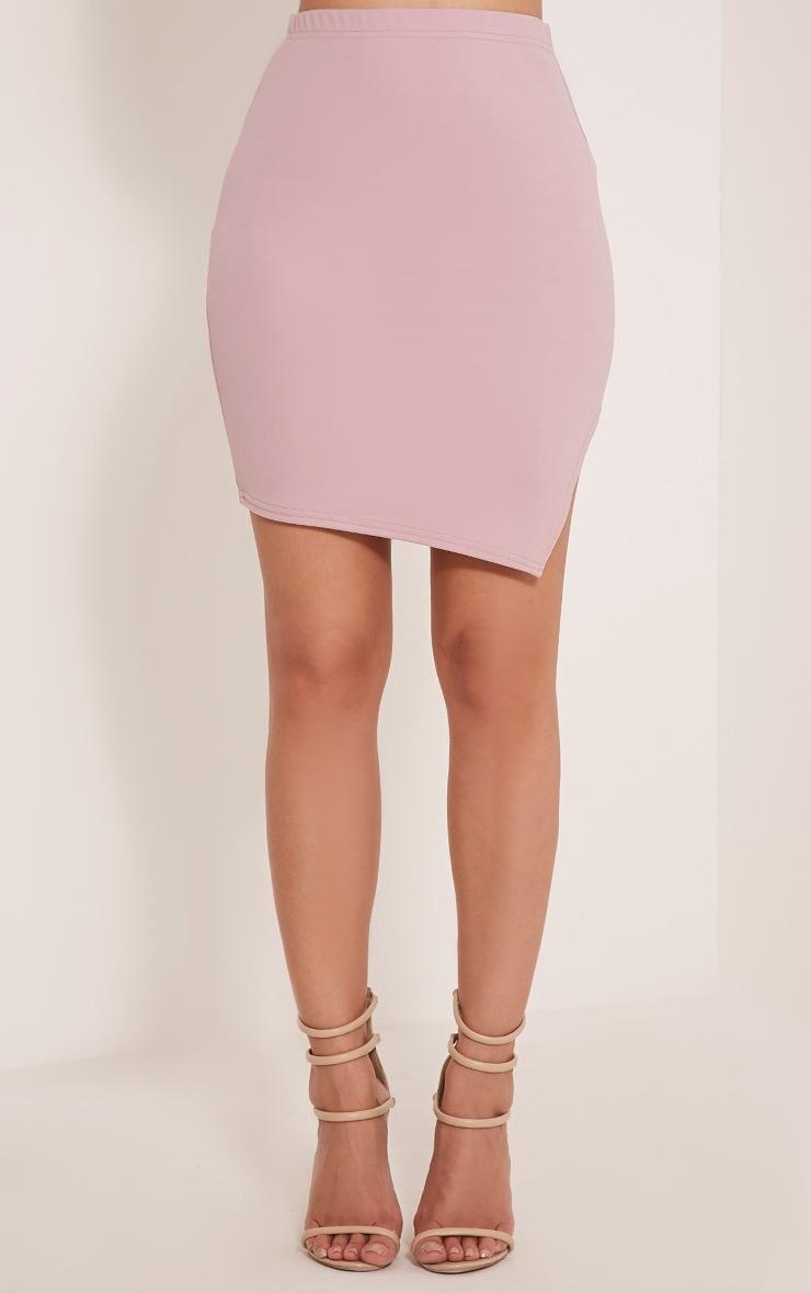 Juliette Mauve Asymmetric Scuba Mini Skirt 2