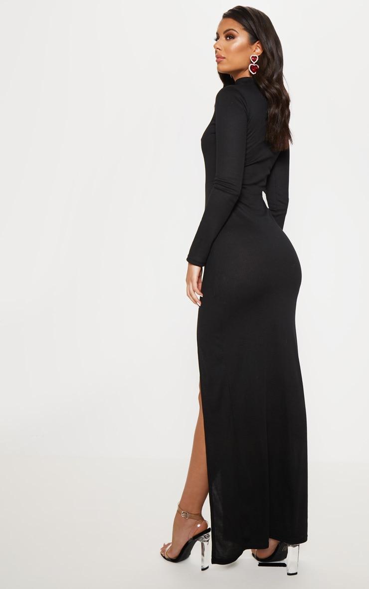 Black Ribbed Long Sleeve Maxi Dress 2