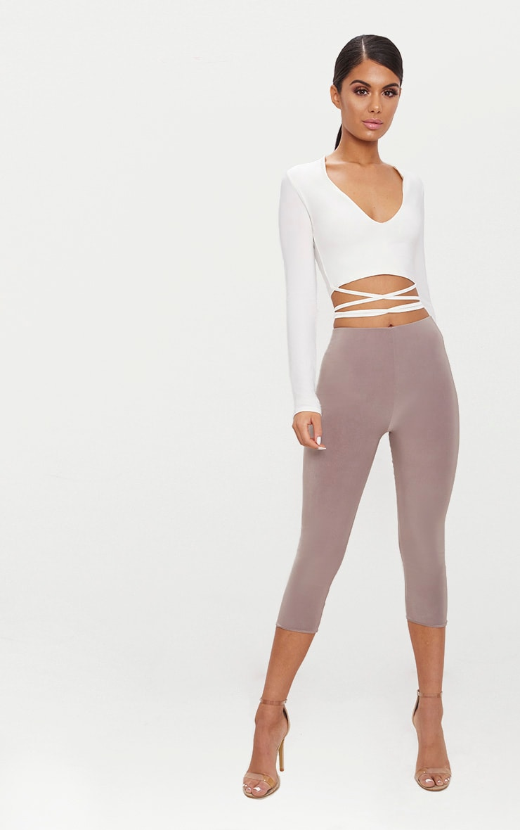 White  Slinky Long Sleeve Tie Waist Crop Top  4