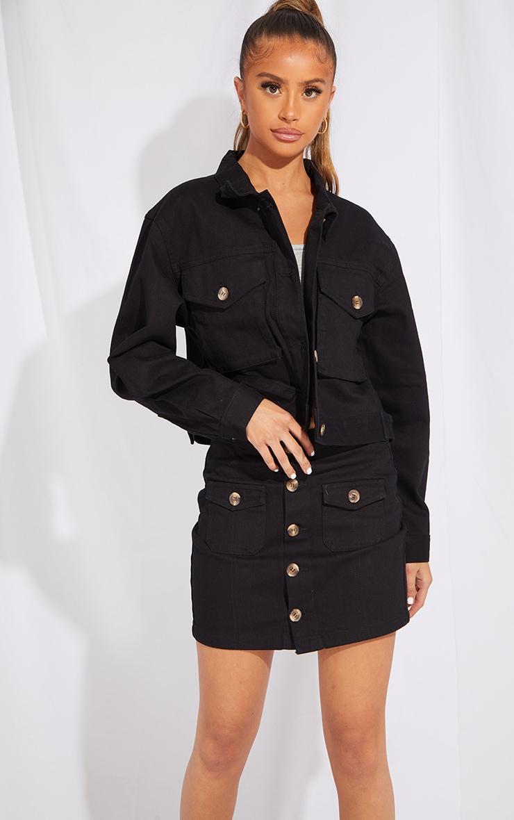 Petite Black Button Front Denim Mini Skirt 4
