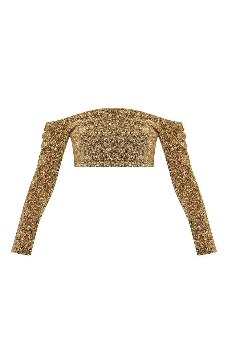 Krystle Gold Metallic Longsleeve Crop Top  3