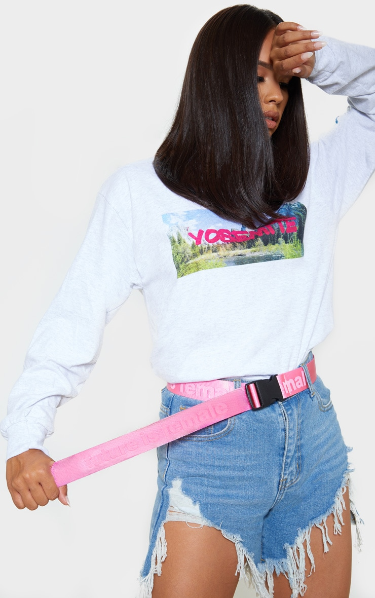 Pink Tonal The Future Is Female Slogan Tape Belt 1