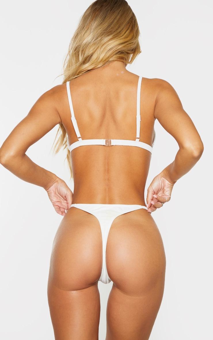 White Mix & Match Recycled Fabric String Thong Bikini Bottoms 2