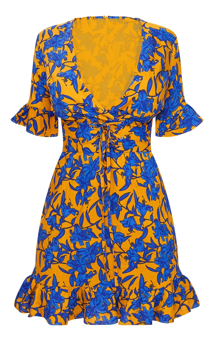 Mustard Floral Corset Swing Dress 3